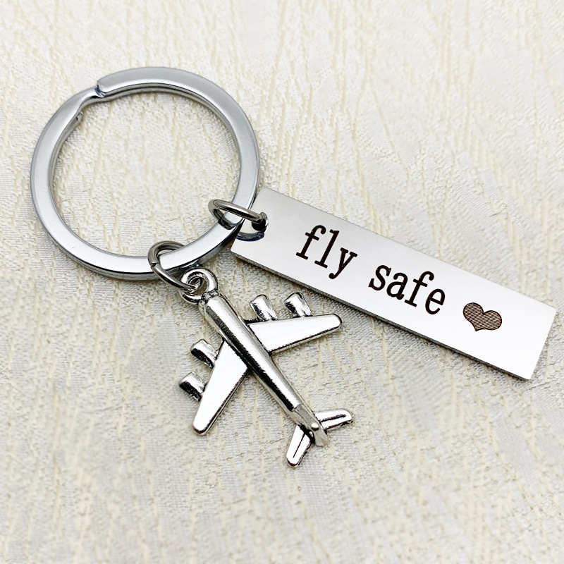Diy Stainless Steel Keychain Fly Safe Couple Gift Aircraft Key Chain Bag Accessories Car Key Ring Pendant K2194