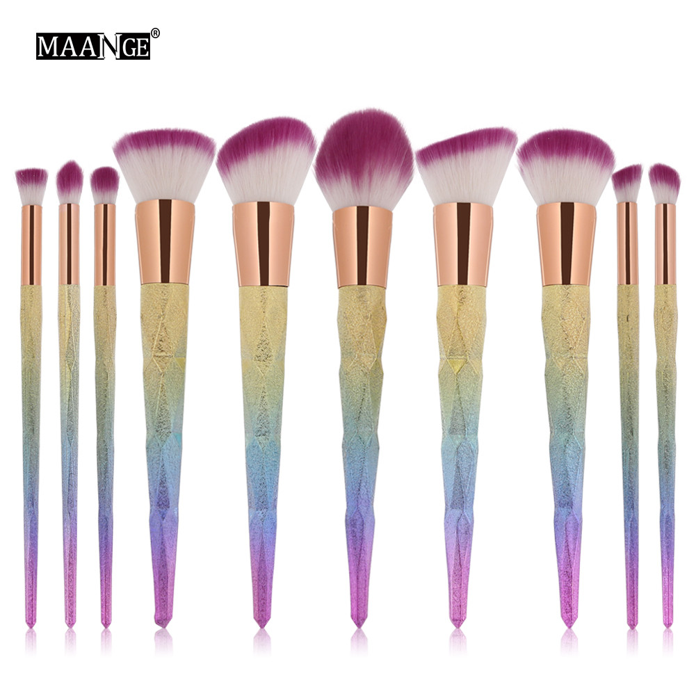 Fashion Luxury 10Pcs Colorful Cosmetic Eyebrow Eyeshadow Brush Makeup Brush Sets Kits Tools A25 Drop Shipping