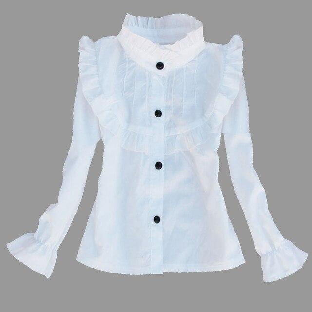 aea67d31afdd1 Estudiantes blanco Camisas para Niñas escuela ropa algodón casual Niñas  Blusas cuello adolescentes uniformes 2 4