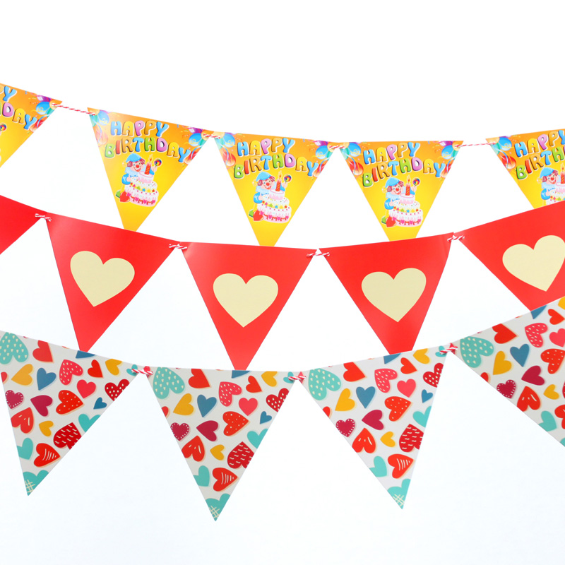 Zilue Birthday party cartoon pennants Paper Flag party ...