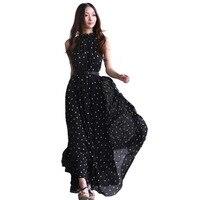 Moda kadın puanl Maxi elbise uzun Casual Yaz Plaj Şifon Parti Elbiseler stil ucuz vestidos de festa