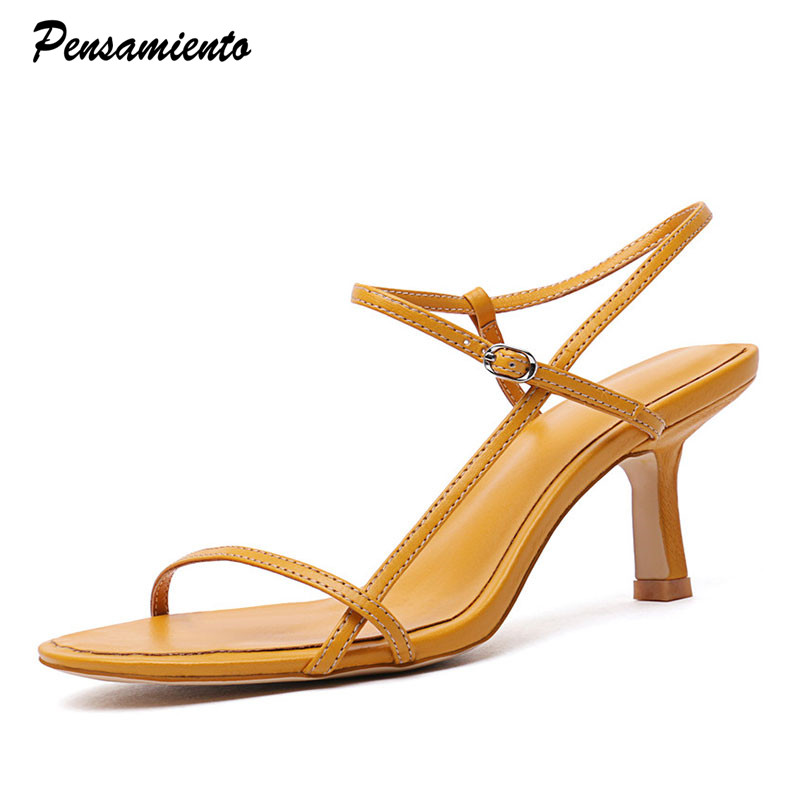 2019 Star Style Women Sandals Concise Narrow Band Thin Heeled Gladiator Sandals 6cm High Heels Summer Office Lady Shoes Woman