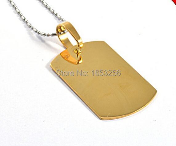 Unisex mens fashion stainless steel yellow gold dog tag pendant unisex mens fashion stainless steel yellow gold dog tag pendant ball chain hot selling in chain necklaces from jewelry accessories on aliexpress aloadofball Choice Image