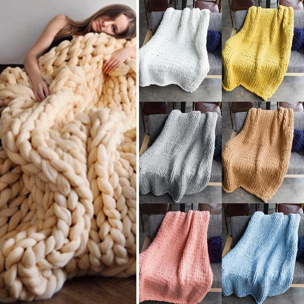 Wine Room Blue Pink Khaki Solid Blankets Yellow All Bed Living Gray Warm Seasons Knitted White Home Sofa Red Thick Rectangle