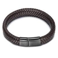 HIP Black Brown Braided Genuine Leather Men Bracelet Stainless Steel Magnetic Buckle Bracelets Bangles Men Jewelry
