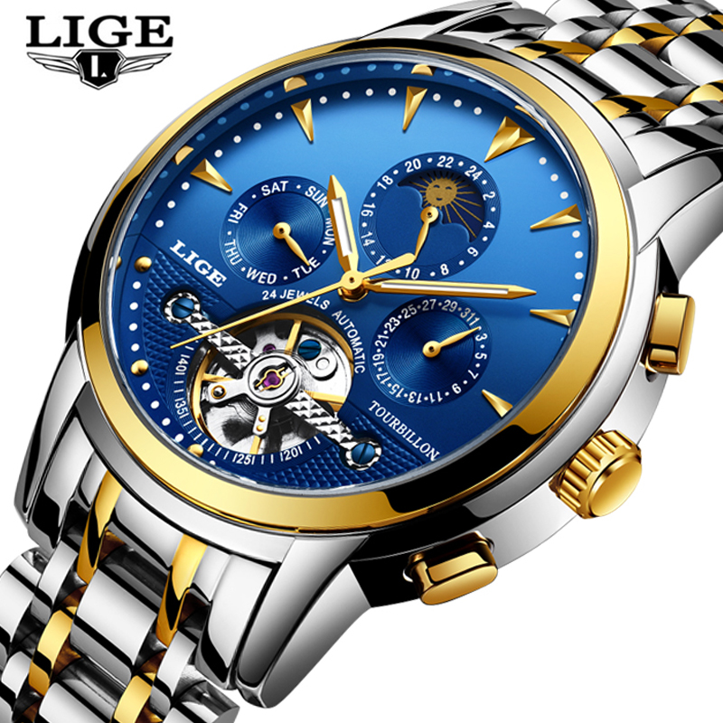 LIGE Top Luxury Brand Mens Watches Automatic Mechanical Watch Fashion Business Men Watch Male Clock Full Steel Relogio Masculino cadisen automatic mechanical mens watches top brand luxury full steel watch men business waterproof fashion male clock rose gold