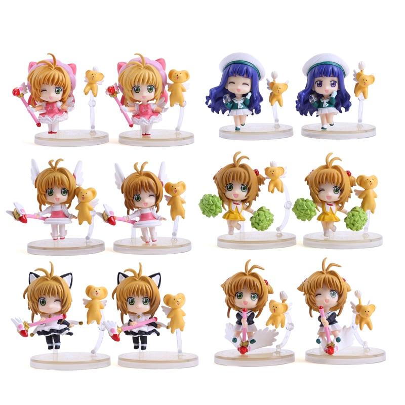 цены на Anime Cardcaptor Sakura Mini Cute Figure Kinomoto Sakura Daidouji Tomoyo PVC Action Figures Toys 6pcs/set CSFG001 в интернет-магазинах