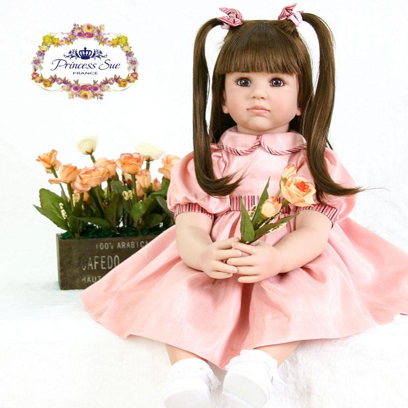 55cm Silicone Reborn Baby Doll Toys Princess Toddler Babies Lovely Birthday Gift Girls Brinquedos Limited Collection Doll disney princess brass key 2003 holiday collection porcelain doll snow white
