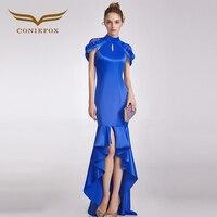 CONIEFOX 32869 синий show модные пикантные Русалка Дамы ретро элегантность аппликации платья для выпускного вечера Вечерние вечернее платье с длин