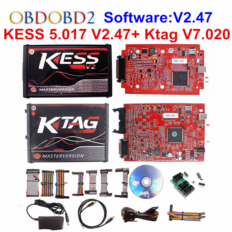 KESS V2 V5.017 KTAG V7.020 OBD2 Manager Tuning Kit Red EU KESS 5.017 V2.47 Red K tag K-TAG 7.020 No Tokens Master Online Version цены