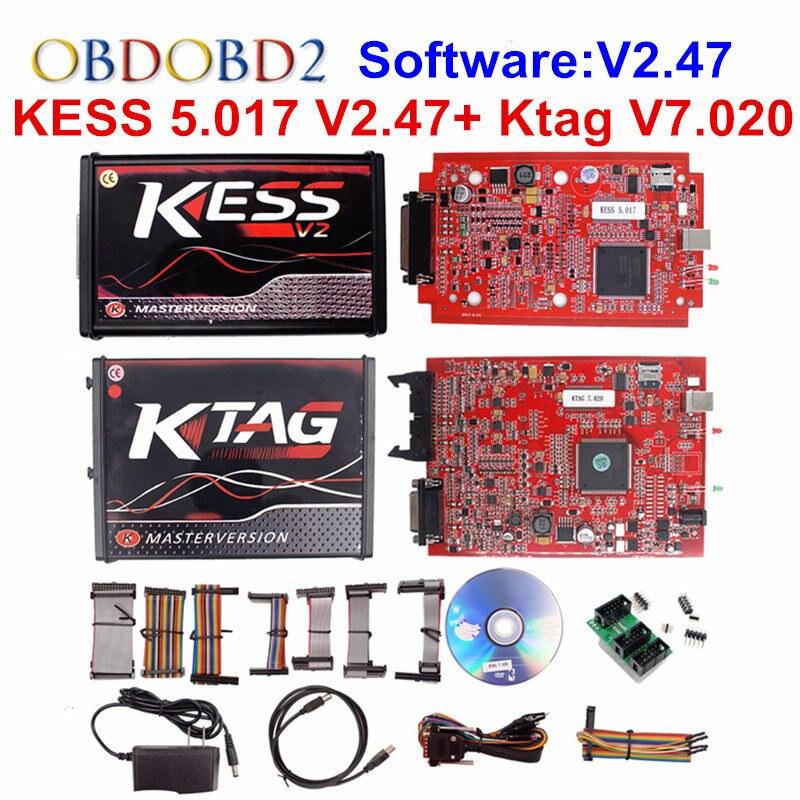 KESS V2 V5.017 KTAG V7.020 OBD2 Manager Tuning Kit Rot EU KESS 5,017 V2.47 Rot K tag K-TAG 7,020 Keine tokens Master Online Version
