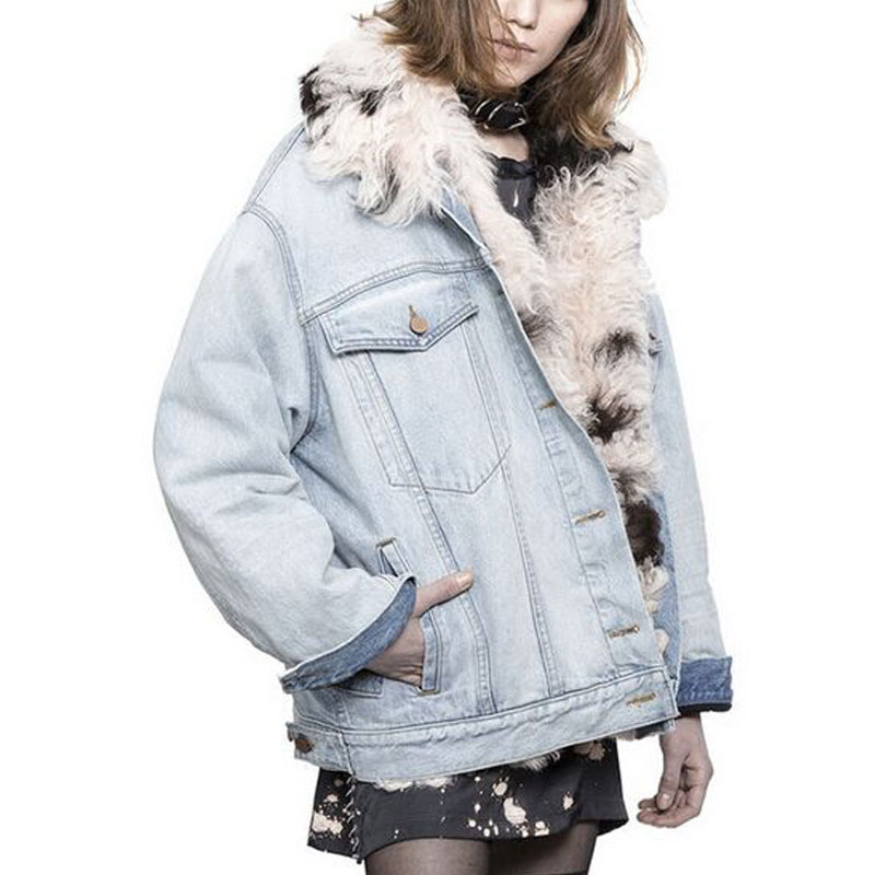 Brand Jacket 2017 Winter Jacket Coat Women Holes Denim Jacket Real Large Wool Fur Collar And Real Wool Fur Thick Warm Liner 2017 autumn winter jacket coat women holes denim long jacket real large raccoon fur collar and faux fur thick warm liner
