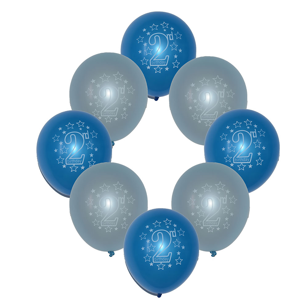 10 Blue Boys 2nd Birthday Printed Pearlised Party Balloons