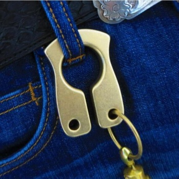 Brass EDC multi-tool, outdoor camping travel tactical portable tools, keychain hanging. Window breaker