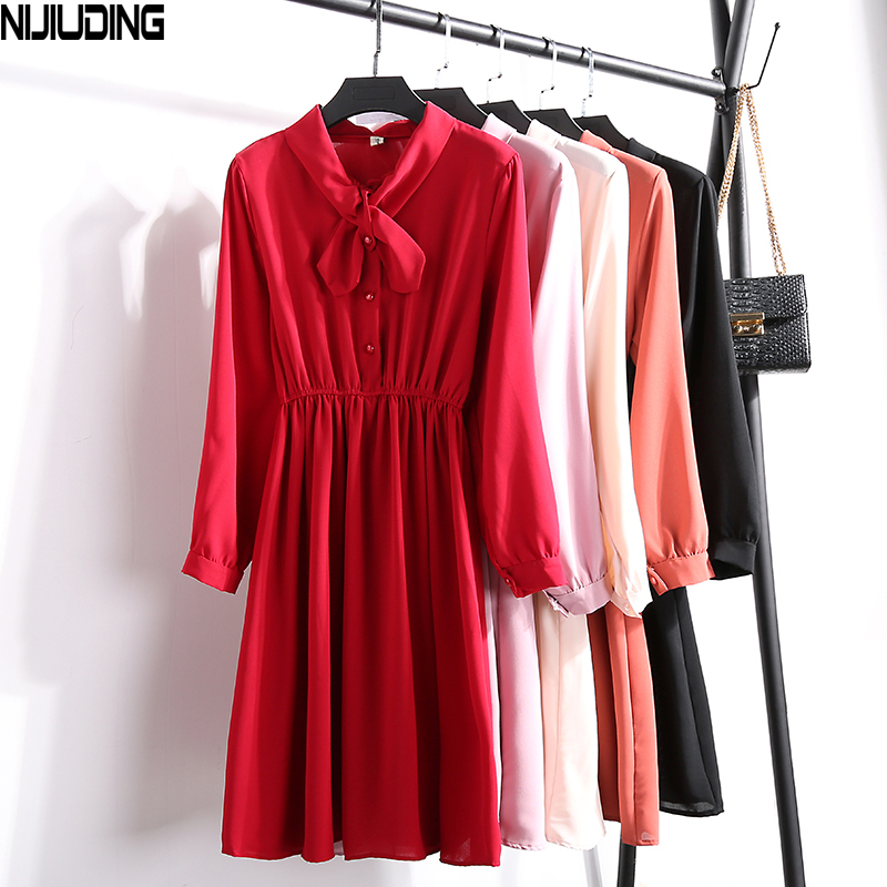 Korean Fashion Women Chiffon Dresses 2019 New Spring Autumn Solid High Waist Long Sleeve Dresses With Bow Casual A-Line Dresses