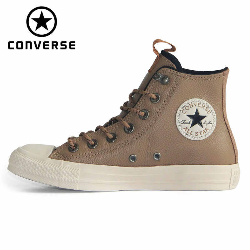 Converse Chuck Taylor All Star leather Autumn and winter Thick warm style unisex sneakers Skateboarding Shoes 162385C