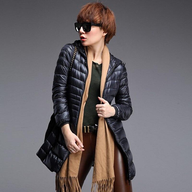 Winter coat women 80% White Duck Down Jacket Lady 's Hooded Ultra Light Down Jackets Warm Long Winter Coat   Parkas