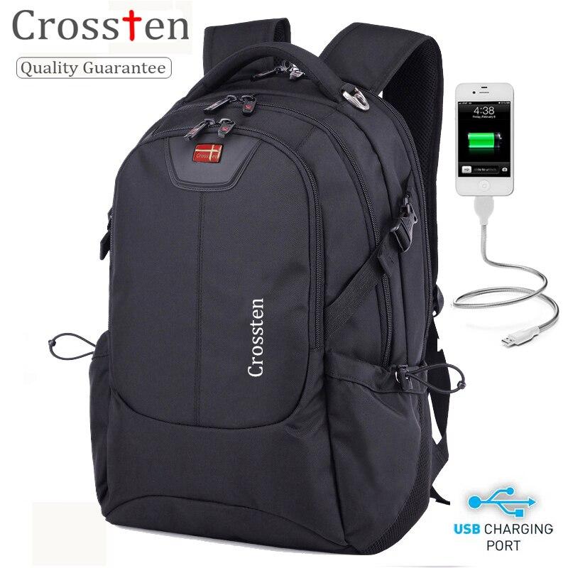 Кросстен швейцарский универсальный внешний USB зарядный порт сумка для ноутбука непромокаемая 16 ноутбук рюкзак школьный рюкзак дорожная су...