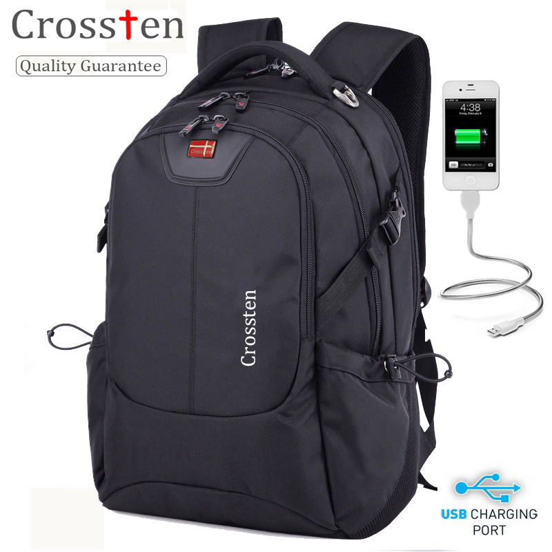 "Crossten Swiss Multifunctional External Usb Charge Port Laptop Bag Waterproof 16"" Laptop Backpack Schoolbag Travel Bag Rucksack"