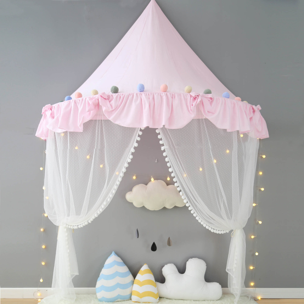 Pink Canopy Princess Bed Kids Play Tent House Toddler Baby Crib Curtain Mosquito Net For Cot Girls Room Decoration Wall