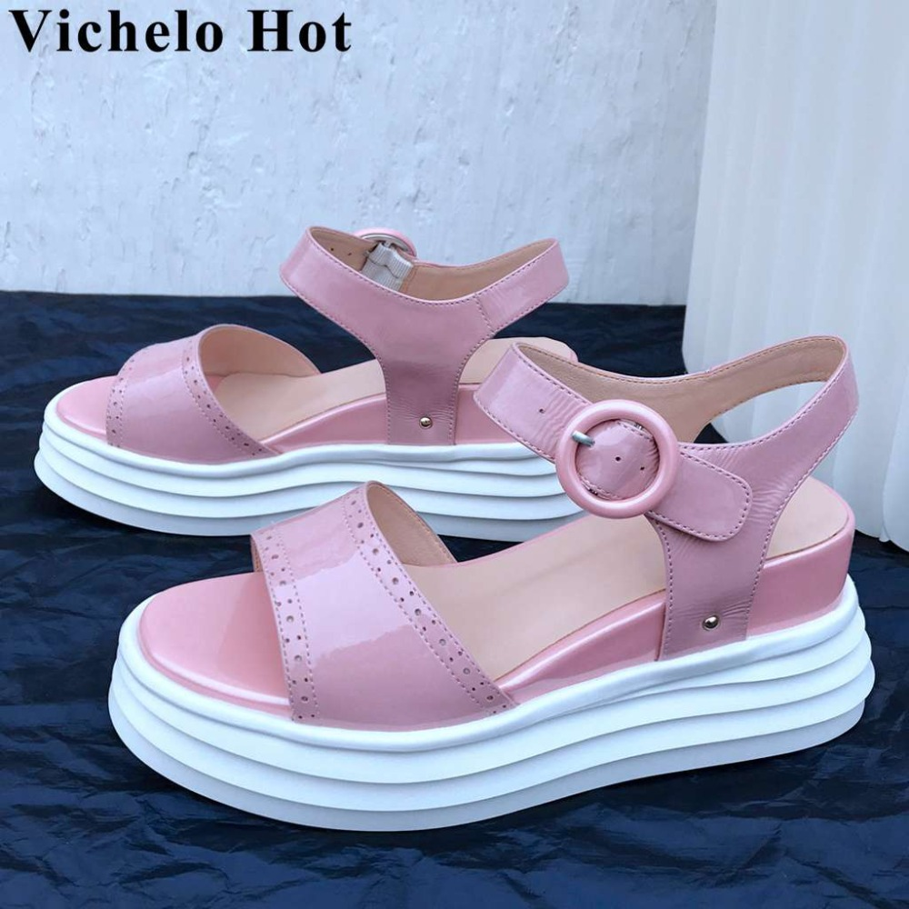Vichelo Hot new arrival cow patent leather wedges high bottom peep toe buckle strap women sandals waterproof vocation shoes L9f6Vichelo Hot new arrival cow patent leather wedges high bottom peep toe buckle strap women sandals waterproof vocation shoes L9f6