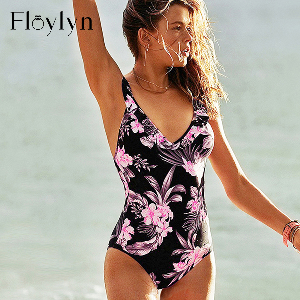 Floylyn <font><b>2018</b></font> <font><b>Sexy</b></font> <font><b>Ruffle</b></font> <font><b>One</b></font> <font><b>Piece</b></font> <font><b>Swimsuit</b></font> <font><b>Women</b></font> <font><b>Swimwear</b></font> Push Up Monokini Bodysuit Floral Backless Bathing Suit Beach Wear image