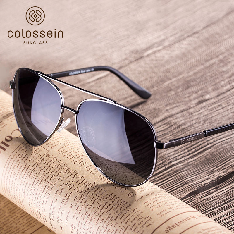 COLOSSEIN Fashion Men Sunglasses Pilot Style Oval Metal Frame TAC Polarized Eyewear Fishing Driving Style New Arrival Sunglasses ...