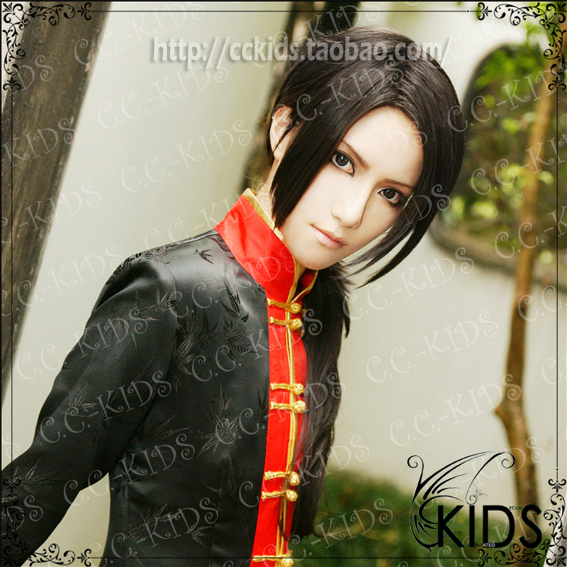 APH Axis Powers Hetalia China Cosplay Wig Anime COS Costume Wigs Halloween Party Black Long Synthetic Hair - HangZhou BOBO Co., Ltd store
