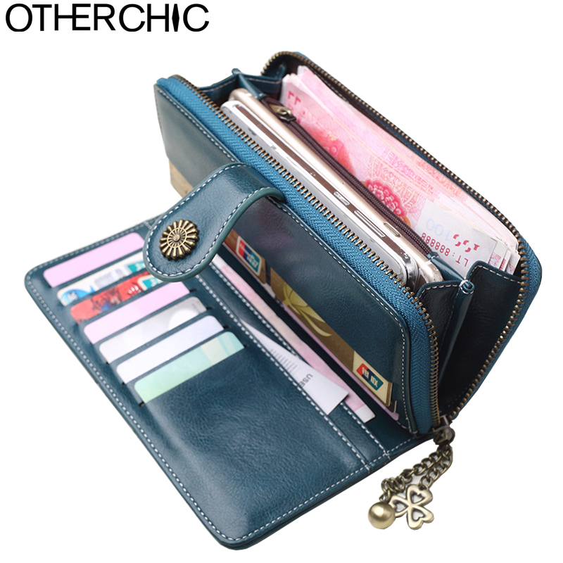 OTHERCHIC 2018 Vintage Oil Wax Leather Wallets Women Long Purse Phone Pouch Zipper Purse Women Clutch Purses iPhone 7 8N03-01