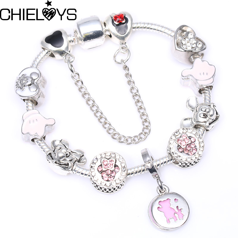 Mickey Minnie Charm Bracelet With Red Murano Beads Fits Vintage Pandora Bracelet For Women Kids Festival Gift Dropshipping