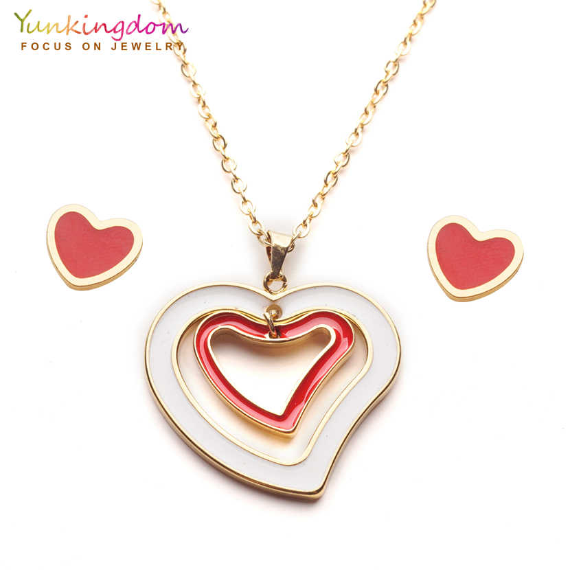 Yunkingdom charms heart red color trendy jewelry sets stainless steel pendant necklace stud earrings for women UE0252