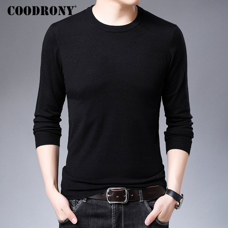 COODRONY Brand Sweater Men Casual O-Neck Knitwear Pull Homme Cotton Wool Pullover Men 2019 New Autumn Winter Mens Sweaters 91036