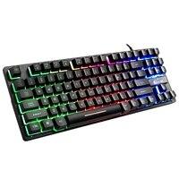 Ziyou wang teclado de jogo com fio  87 teclas  rgb mix retroiluminação  luminoso para computador portátil  jogos de esportes  sensação como mecânico
