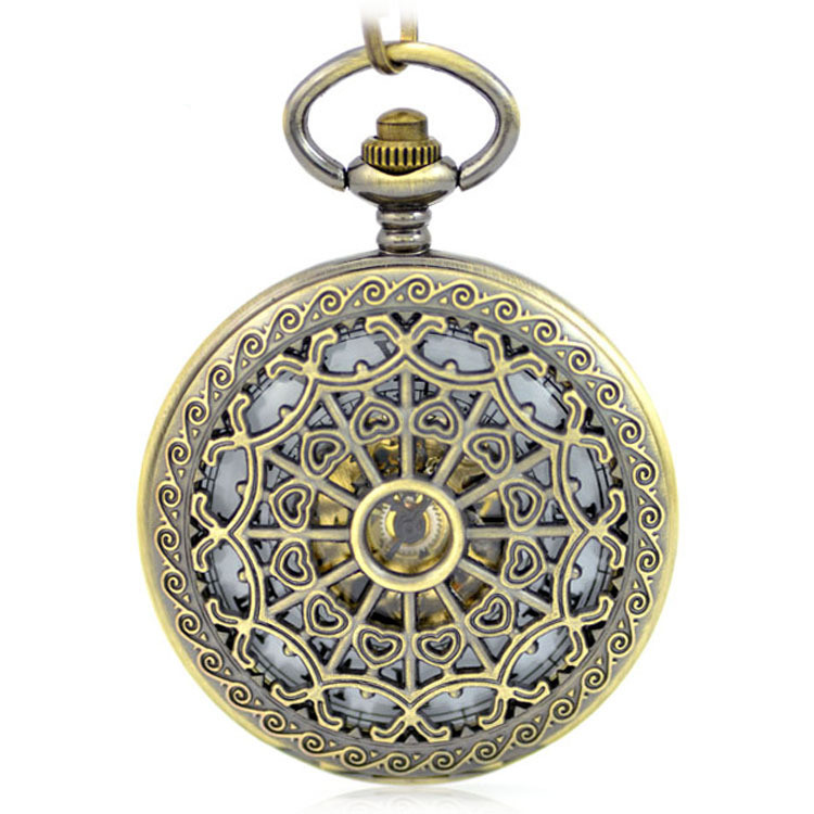 Brown Skeleton Mechanical Hand Wind Pocket Fob Watches Clamshell Business Men Watch Pendant Necklace Heart shaped carved Gift