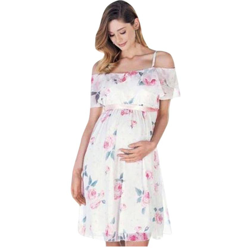 Fashion Womens Mother Floral Falbala Pregnant Off Shoulder Dress Daily sleeveless Chiffon For Maternity Clothes Roupa Gravida