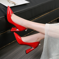Black White Ladies High Heels Pointed Toe Patent Leather Women Pumps Fashion Dress Wedding Block Heel Shoes Woman Red Pink 2019