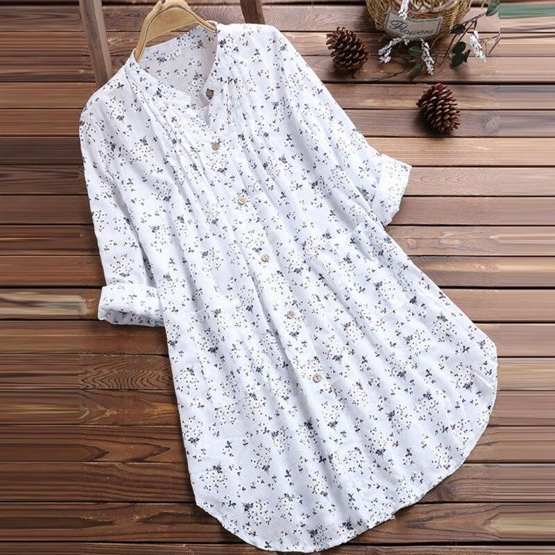 ccbe4f14c Blusas de mujer cuello en V plisadas estampado Floral de manga larga Casual  Tops blusa damas Blusas ...