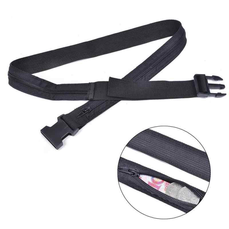 Men's Belts Dynamic Secret Travel Waist Money Belt Hidden Security Safe Pouch Ticket Belt New High Quality Simple Black Color Belt