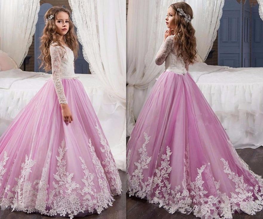 Offre spéciale à manches longues robes de demoiselle d'honneur Appliques bouton retour enfants Robe de reconstitution historique Robe fille fleur robes de première Communion