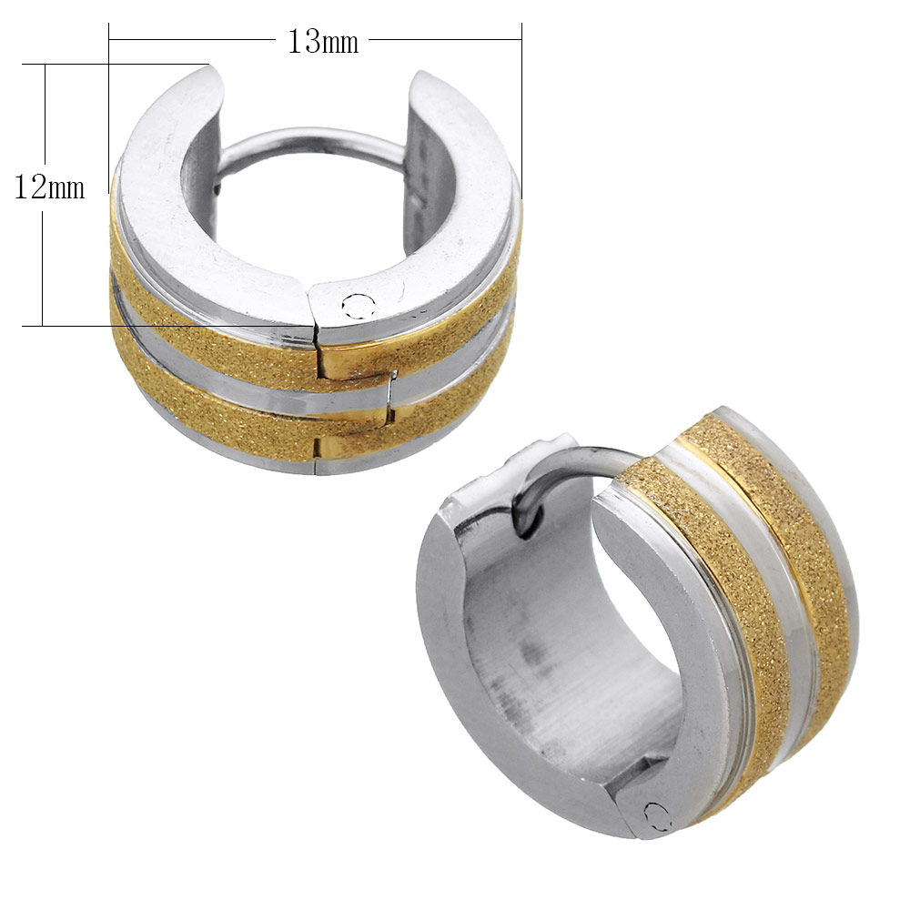 European Style Two Tone Gold Color Stainless Steel Huggie Hoop Earring Designs Round Circle Loop Earrings Wedding Gifts In From Jewelry