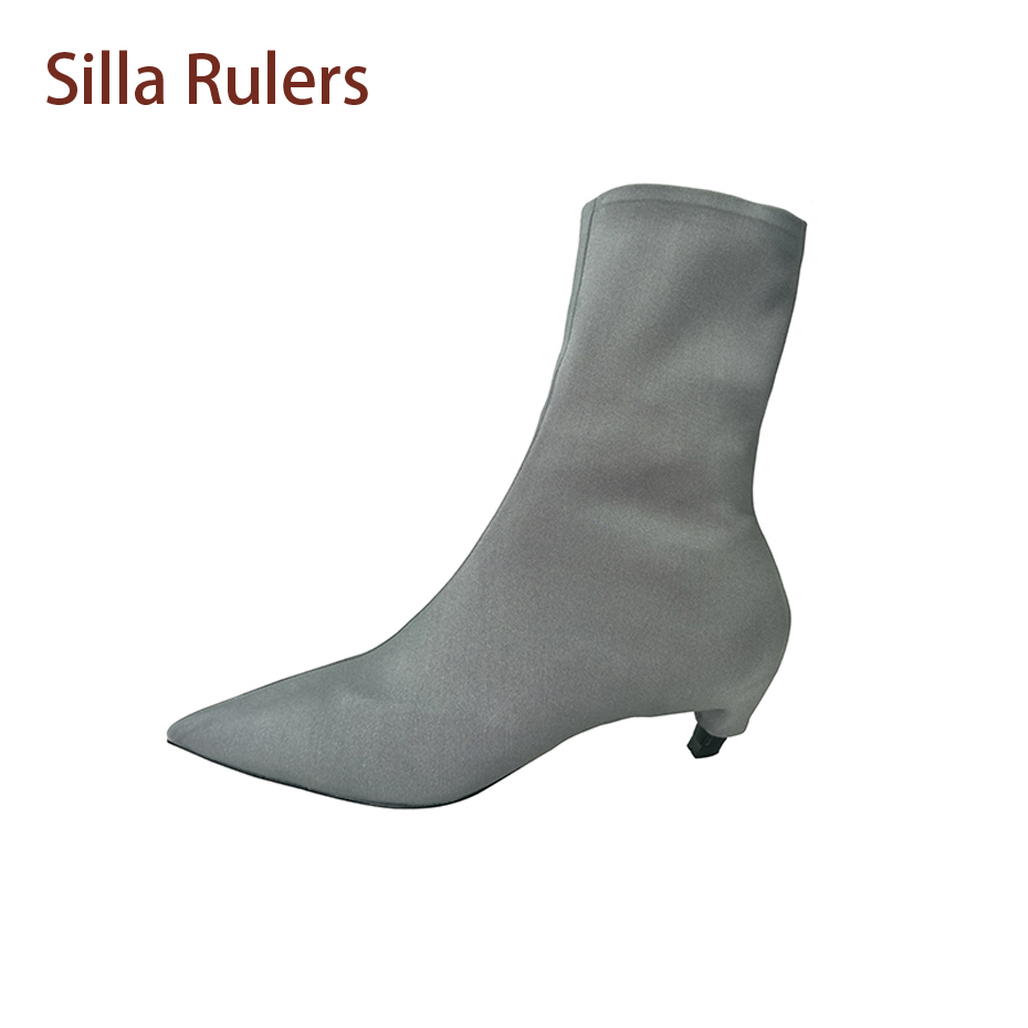 Silla Rulers Stretch Fabric Women Sock Boots Pointed Toe Med Heels Slip On Ankle Boots Women Pumps Stiletto Botas Mujer slip on winter boots stretch lycra