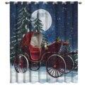 Рождественские занавески для комнаты с изображением лося и тележки, большие Оконные Занавески для гостиной, украшения для ванной, кухни, домашний тканевый Декор, Детские Оконные Занавески - фото