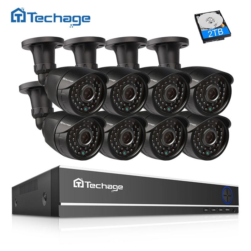 Techage 8CH 1080 p HDMI AHD DVR CCTV Système 2MP IR Extérieure Caméra de Sécurité P2P Vue À Distance Vidéo Surveillance Système kit 2 tb HDD