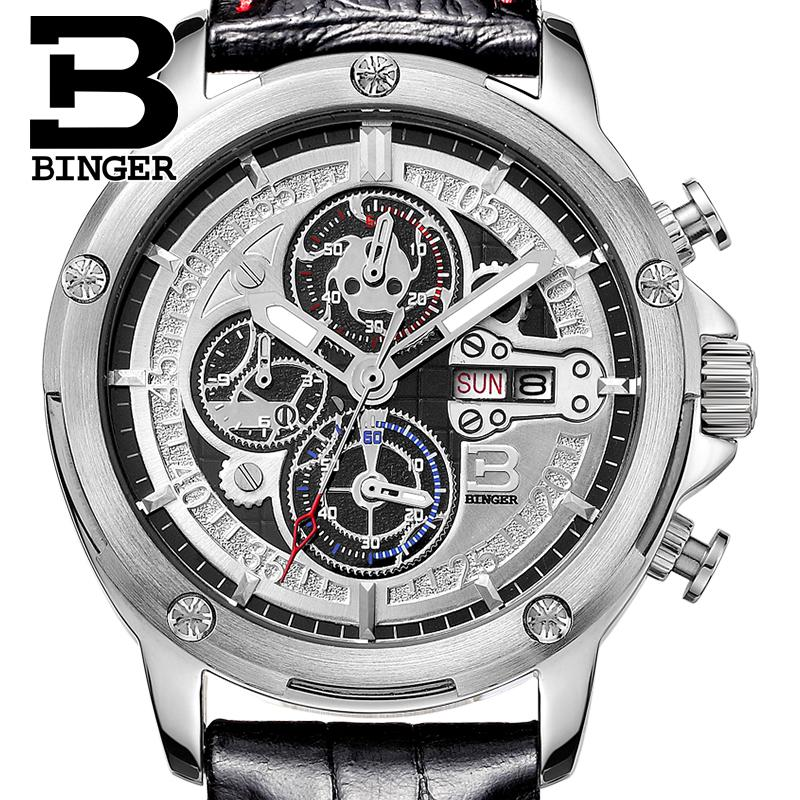 Switzerland men's watch luxury brand Wristwatches BINGER Quartz men watches leather strap Chronograph Diver glowwatch B6009-3 switzerland binger men s watches luxury brand quartz waterproof leather strap clock chronograph stop watch wristwatches b9202 8
