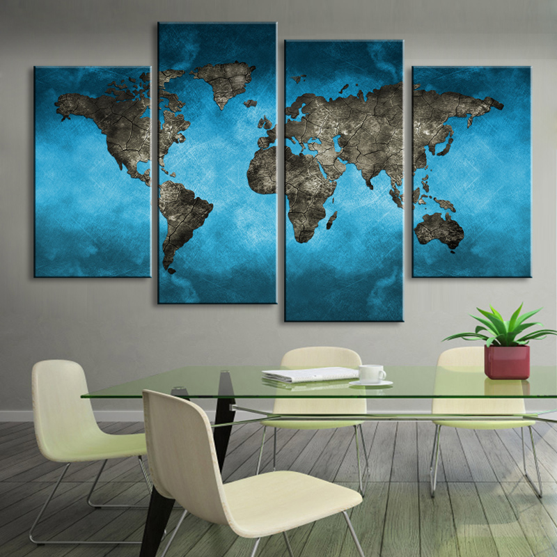 Painting & Calligraphy World Map Canvas Aurora Poster Wall
