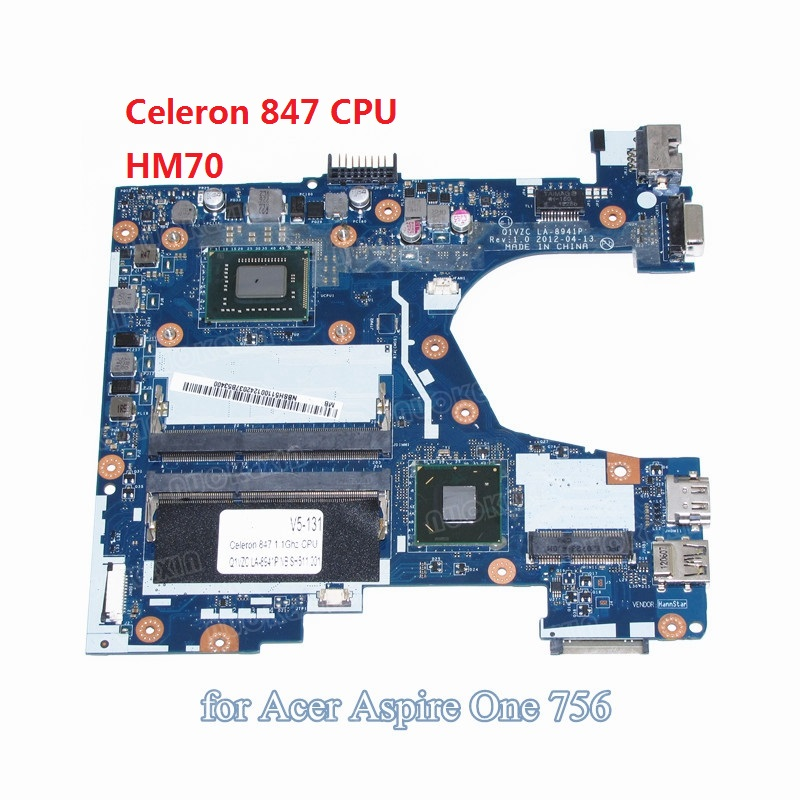 NOKOTION Q1VZC LA-8941P NBSH511001 NB.SH511.001 laptop motherboard For acer Aspire V5-131 Celeron 847 CPU DDR3 nokotion nbm1011002 48 4th03 021 laptop motherboard for acer aspire s3 s3 391 intel i5 2467m cpu ddr3