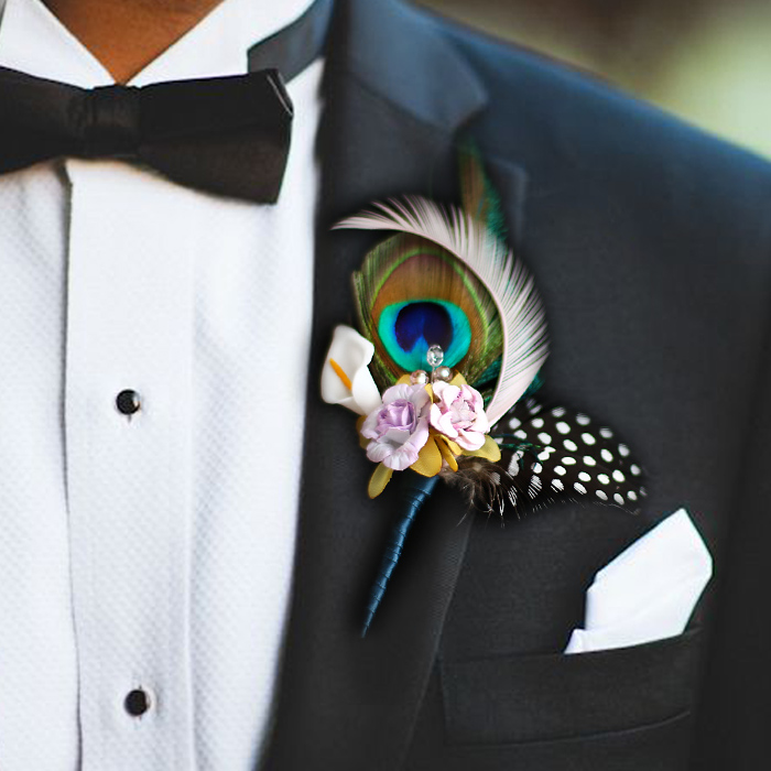 DIY Private customization senior groom corsages Peacock feather boutonniere Purple blue pink Men