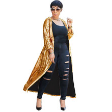 Gold Sequin Cardigan Coat Women Fashion Long Sleeve Open Front Sparkly Glitter Club Party Trench for
