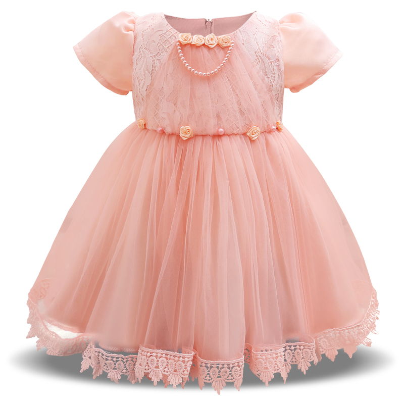 Newborn Baby Girl Dress 2018 New Style Solid Lace Children Wear Dress For Wedding Party Short Sleeve For 0-2Year Infant Dresses