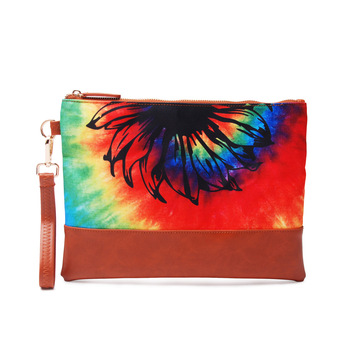 RTS 10pcs Tie Dye Wristlet Clutch Canvas Coin Purse Lined Rainbow Clutches DOM1333